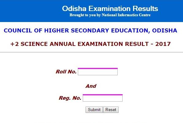 Odisha Board Class 12th Result 2017