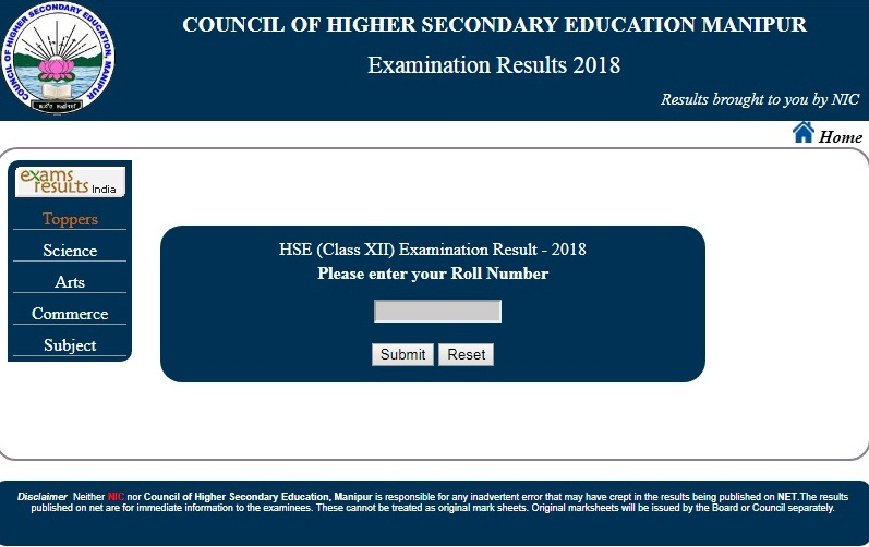 Manipur Board Class 12th Result 2018