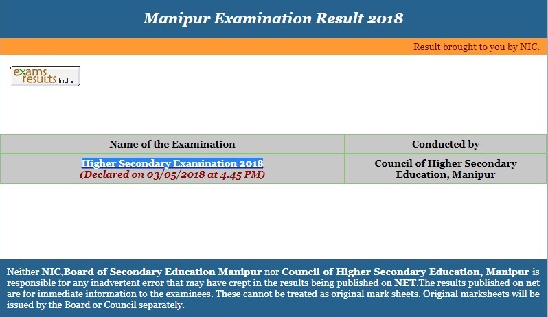 Manipur Board Class 12th Result 2020