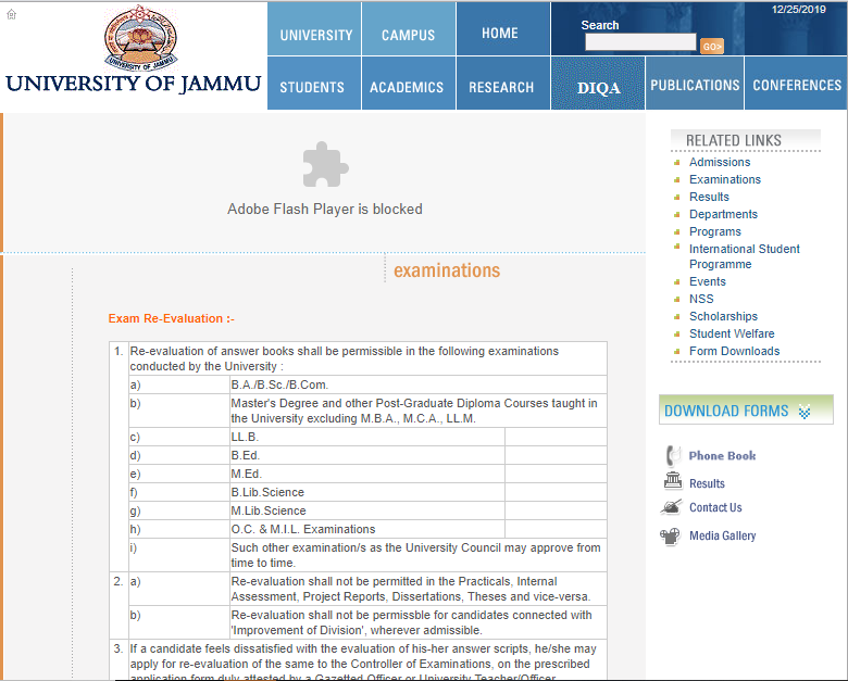 How to apply for re-evaluation in jammu university