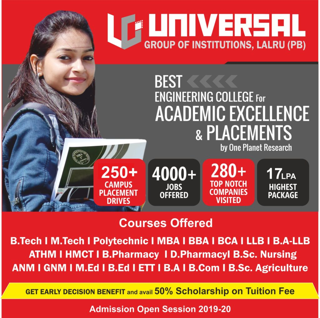 PLACEMENT WISE TOP 10 ENGINEERING COLLEGES IN CHANDIGARH PUNJAB